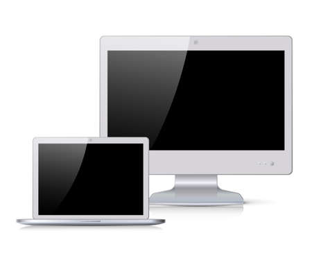 silver screen: Set of silver flat widescreen monitor and a laptop with black screen Illustration