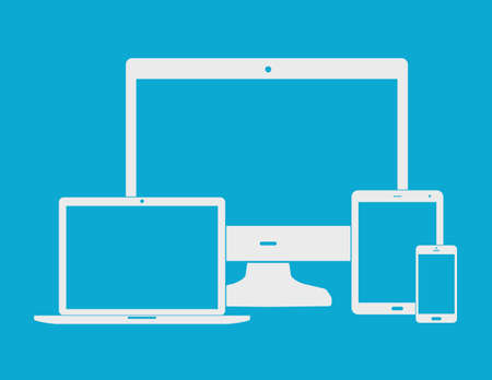 flat screen: Electronic white devices  - computer monitor, smartphone, tablet, and notebook isolated on blue background