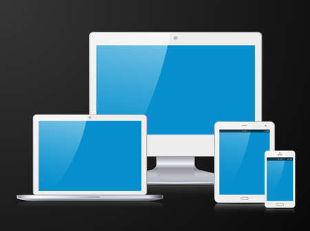digital tablet: Electronic silver devices with blue, shiny screens isolated on black background; desktop computer, laptop, tablet and smartphone