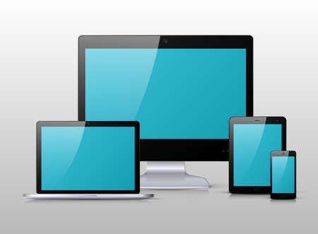 modern palmtop: Electronic black devices with blue, shiny screens isolated on white background; desktop computer, laptop, tablet and smartphone