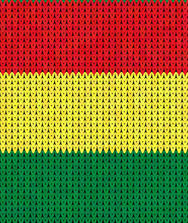 rasta colors: Seamless pattern in the colors of reggae red, green, yellow, knit texture Illustration