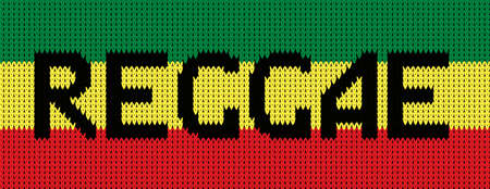 Knitted texture in reggae colors: red, yellow, green, knitted text