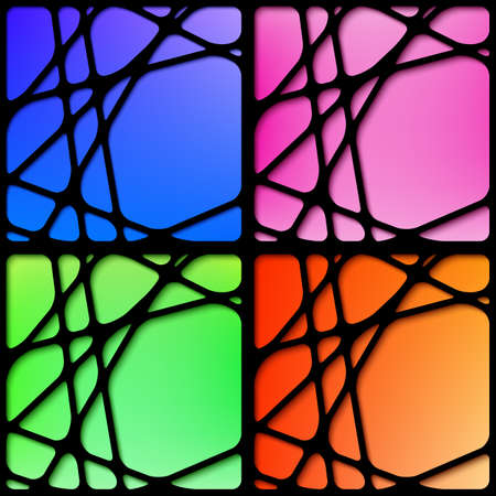 correspond: Set of four abstract mesh black frames with blurred background, colors correspond to the four seasons - blue, pink, green, orange Illustration