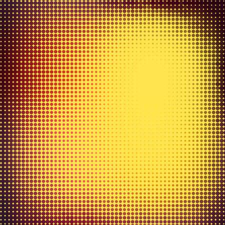 Abstracte achtergrond met halftone effect. Donker rood en gele cirkels op lichte gele achtergrond Vector Illustratie