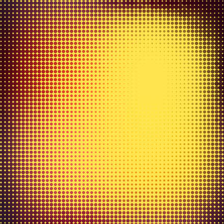 Abstract background with halftone effect. Dark red and yellow circles on light yellow background Illustration