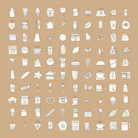 sugar spoon: icon, cup, doodle, coffee, aroma, drink, draw, sketch, vector, cream, black, cake, breakfast, morning, tea, restaurant, symbol, cartoon, food, set, freehand, milk, drawing, kitchen, sugar, spoon, cooking, hand, cherry, taste, hand-drawn, teapot, tasty, co
