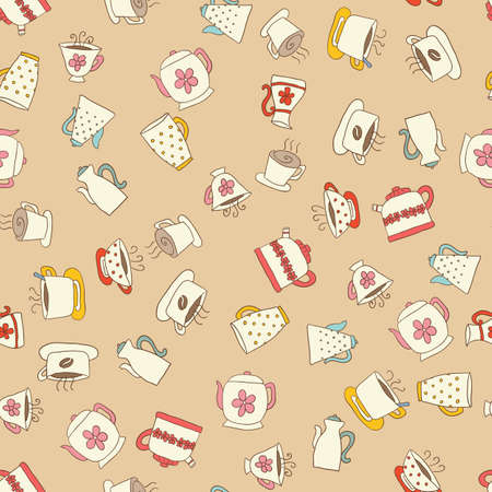 dark beige: Seamless pattern of hand-drawn icons coffee, tea and teapot, beige icons with color elements and dark contour on the beige background