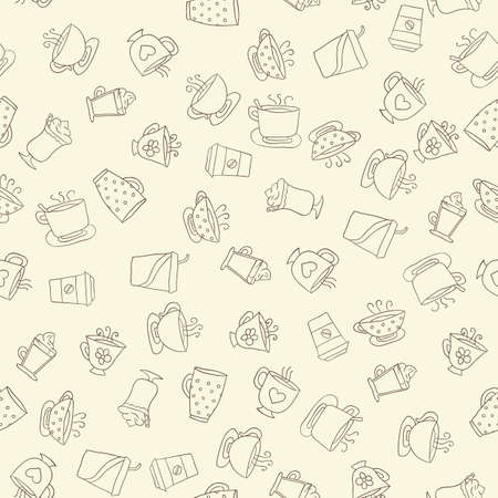 dark beige: Seamless pattern of hand-drawn icons coffee and tea cup, dark contour on the beige background