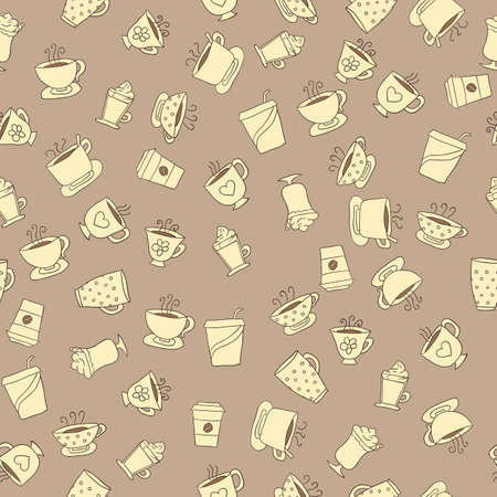 dark beige: Seamless pattern of hand-drawn icons coffee and tea cup, beige icons with dark contour on the dark beige background Illustration