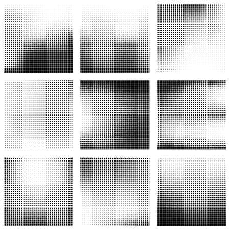 spot the difference: Halftone texture set. Halftone effect created from squares of different sizes