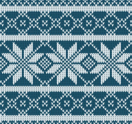 handiwork: Knitted sweater design. Seamless knitting pattern with blue color