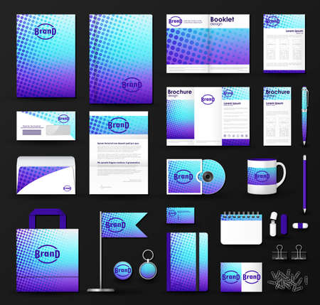 branding: Corporate identity template set. Business stationery mock-up with blue  halftone effect on  blurred background and logo. Branding design.