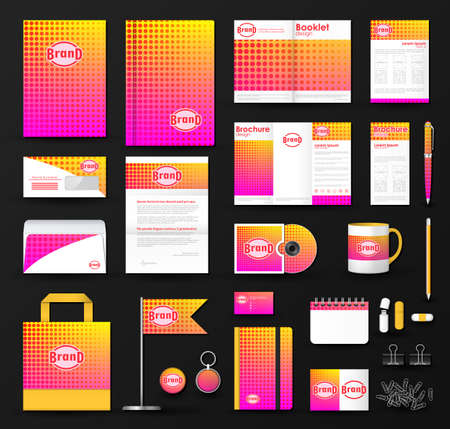 notebook design: Corporate identity template set. Business stationery mock-up with pink halftone effect on  blurred background and logo. Branding design.