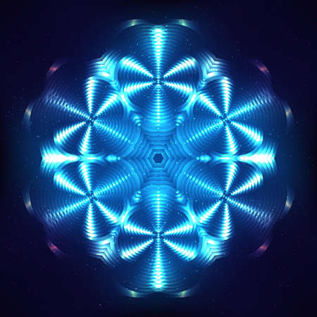 un: Blue abstract shining cosmic mandala un blue blurred background
