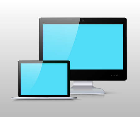 computer screens: Set of black flat widescreen monitor and a laptop with blue screen