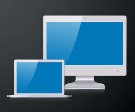 silver screen: Set of silver flat widescreen monitor and a laptop with blue screen Illustration