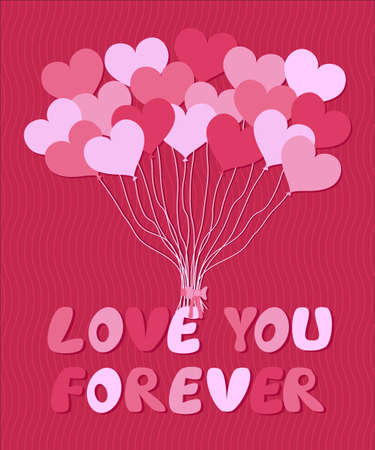 pink balloons: Valentines card template with a bunch of pink balloons form of hearts on a pink background