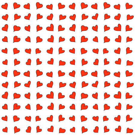 Vector Valentine's Day hearts seamless pattern background with hand drawn red hearts