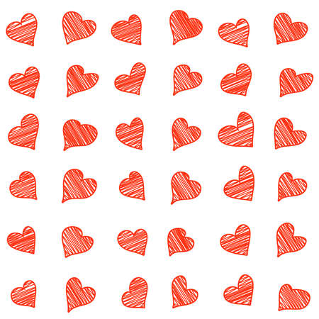 scribble: Seamless pattern with scribble hand drawn hearts