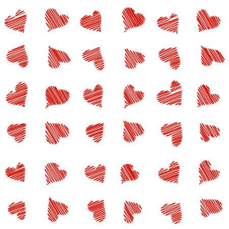 Naadloos patroon met getrokken gekrabbel hand harten
