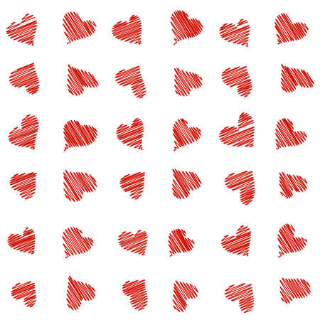 heart love: Seamless pattern with scribble hand drawn hearts