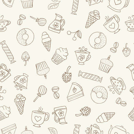 dark beige: Seamless pattern of hand-drawn icons coffee, tea and sweets, dark contour on beige background
