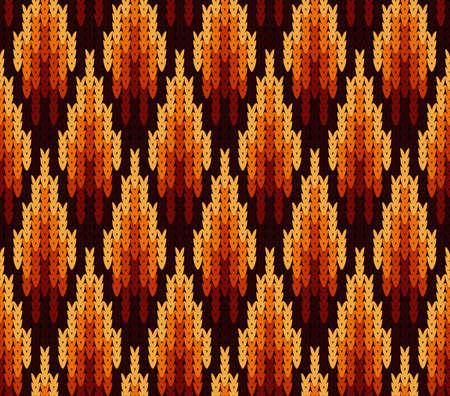 Geometrische patroon naadloos gebreide textuur in felle gele, rode en bruine kleur