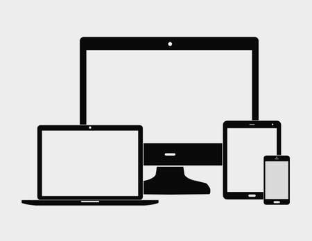 laptop mobile: Electronic devices with white blank screens - computer monitor, smartphone, tablet, and notebook isolated on white background