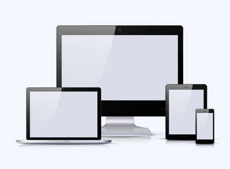 electronic devices: Electronic black devices with white