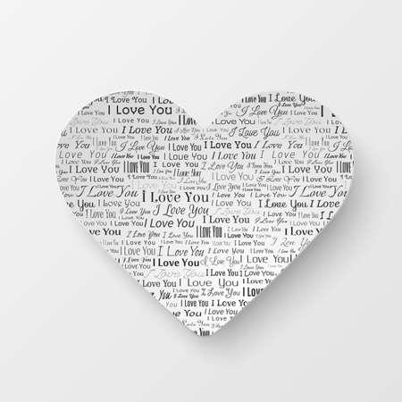Corazón de papel con textura de periódico, Tarjetas de San Valentín en el fondo blanco Ilustración de vector