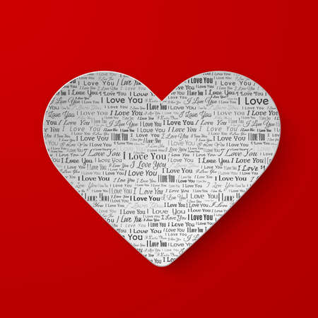 newspaper texture: Paper heart with newspaper texture, Valentines day card on red background Illustration