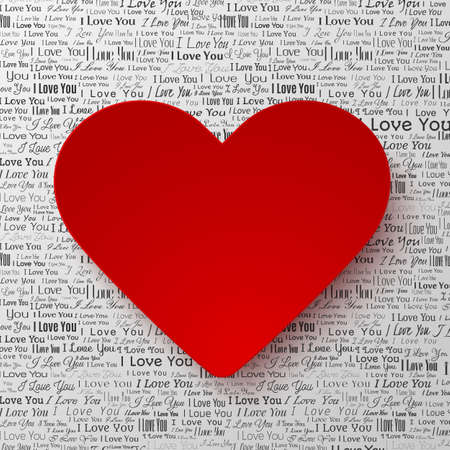 newspaper texture: Red paper hearts Valentines day card on white background with newspaper texture
