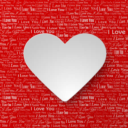 newspaper texture: White paper hearts Valentines day card on red background with newspaper texture Illustration