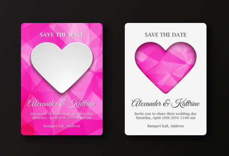 peper: Wedding invitation cards template. Two variants: white peper heart on polygonal background, polygonal hearts on white background