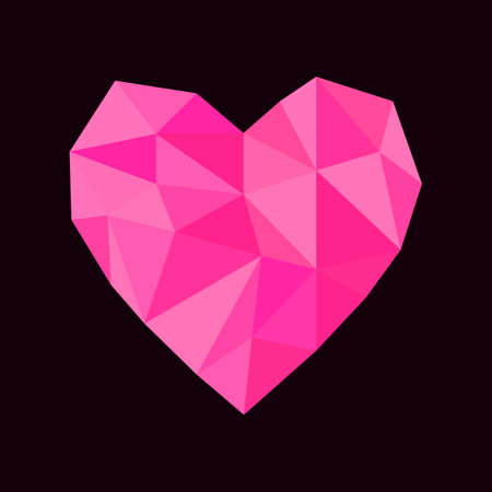Greeting card for Valentines Day. Abstract polygonal heart