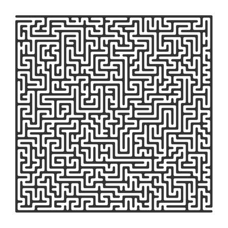 leading the way: Labyrinth with entry and exit, square, black isolated on a white background