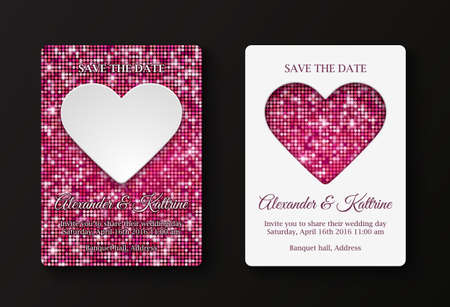 peper: Wedding or Valentines Day party invitation cards template. Two variants: white peper heart on glittering mosaic background, glittering mosaic hearts on white background