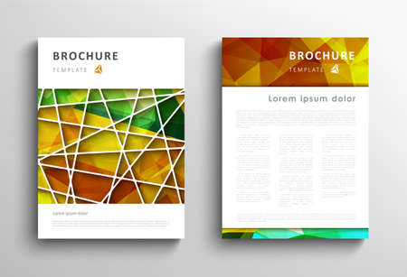 Brochure design template, abstract polygonal greene orange background