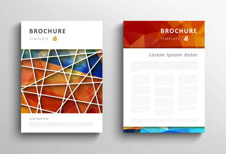 Brochure design template, abstract polygonal blue orange background