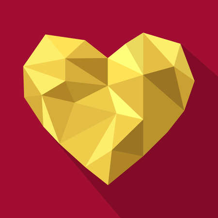 coeur en diamant: Saint Valentin carte de voeux avec amour en forme de coeur géométrique.