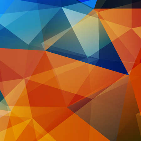 orange color: Polygon abstract background, blue and orange color.