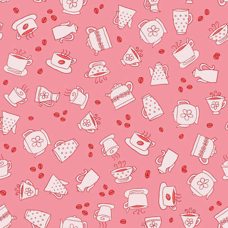 Seamless pattern of hand-drawn icons coffee, tea and teapot