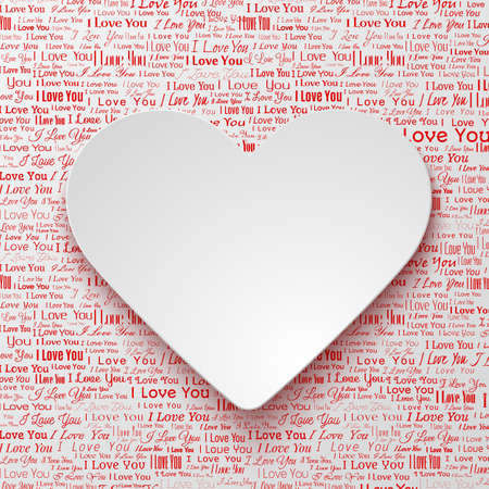 newspaper texture: White paper hearts Valentines day card on white background with newspaper texture