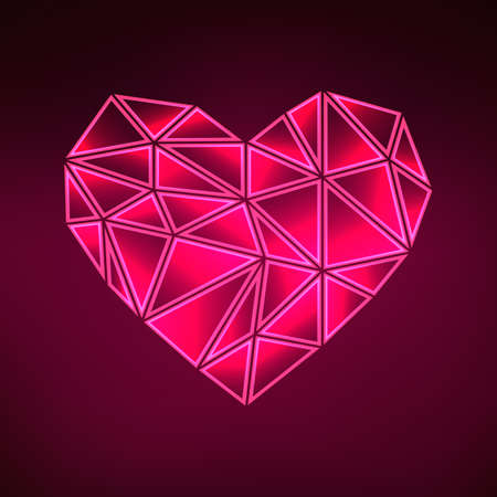 Greeting card for Valentines Day. Abstract polygonal heart on a dark background