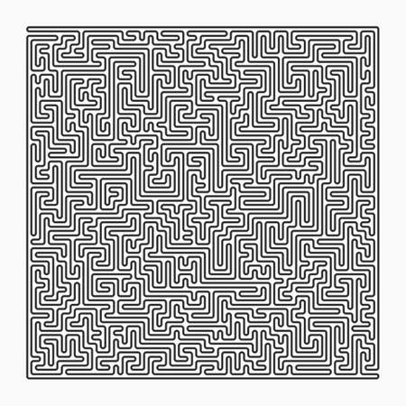 difficult decision: Labyrinth with entry and exit, square, black isolated on a white background