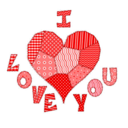 Valentines Day card with bright red text I Love You and heart made of patchwork