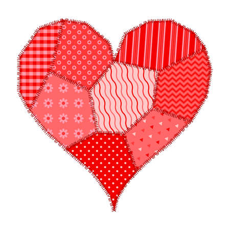 Postcard on Valentines Day red heart made of patchwork Çizim