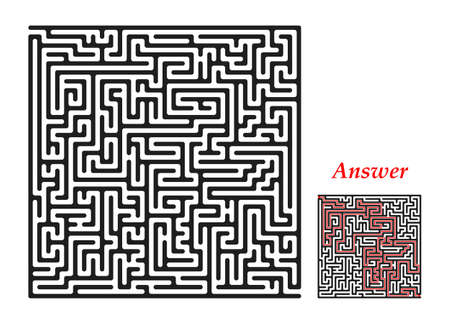 leading the way: Labyrinth with entry and exit, square, black isolated on a white . With the correct answer Illustration