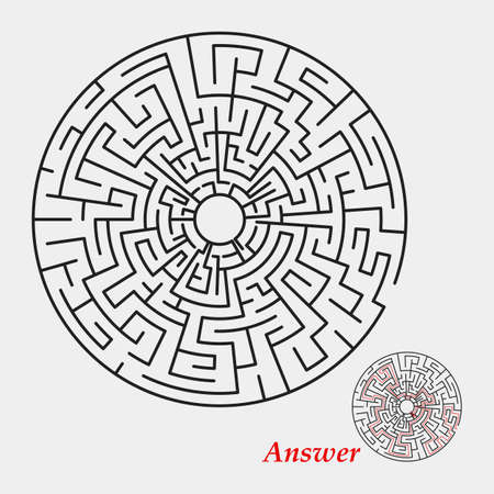 leading the way: Labyrinth with entry and exit, round, black isolated on a white background. With the correct answer