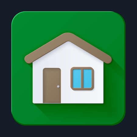 Haus-Symbol, detaillierte, Vollfarb auf einem grünen Hintergrund. Vektor-Illustration Illustration